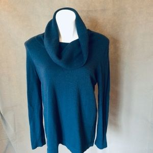 M LOFT TEAL COWL NECK LONG SLEEVED SWEATER VGUC